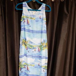 Tacera small blue sailboat print long summer dress